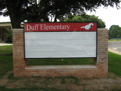 Custom School Signs in Dallas | Hancock Sign Company | Duff Elementary's School Sign.