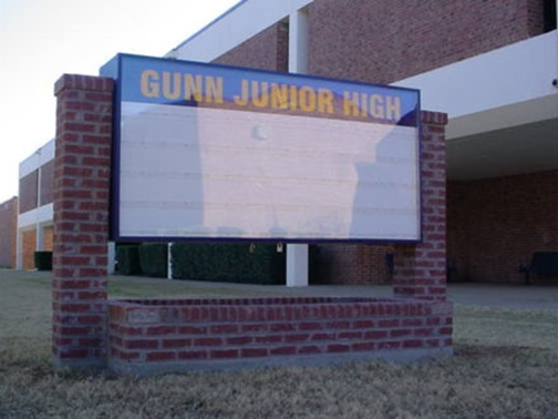 School Signs in Dallas TX and Surrounding Areas | Hancock Sign Company | Gunn Junior High's School Sign
